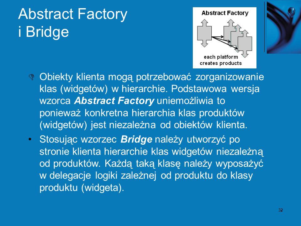 32 Abstract Factory i Bridge Obiekty klienta mogą potrzebować zorganizowanie klas (widgetów) w hierarchie. Podstawowa wersja wzorca Abstract Factory u