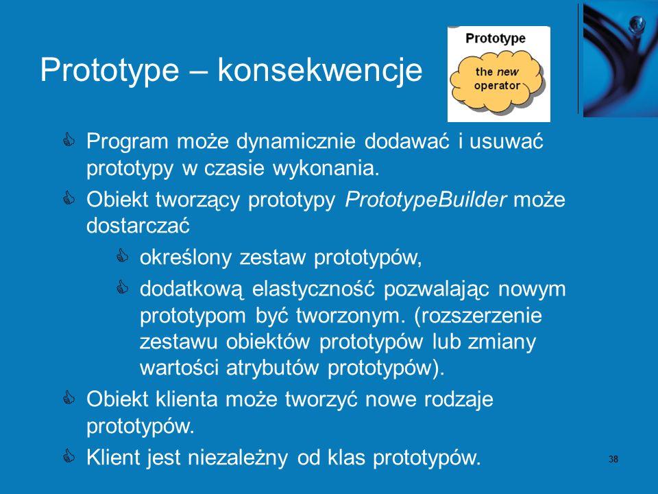 38 Prototype – konsekwencje Program może dynamicznie dodawać i usuwać prototypy w czasie wykonania. Obiekt tworzący prototypy PrototypeBuilder może do