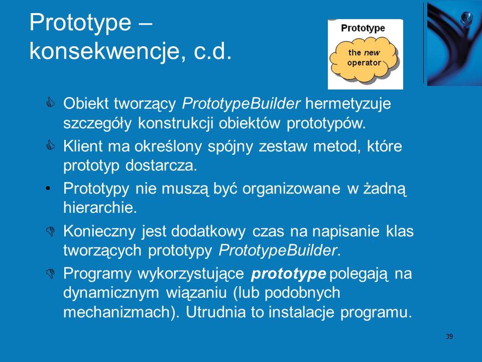 39 Prototype – konsekwencje, c.d. Obiekt tworzący PrototypeBuilder hermetyzuje szczegóły konstrukcji obiektów prototypów. Klient ma określony spójny z