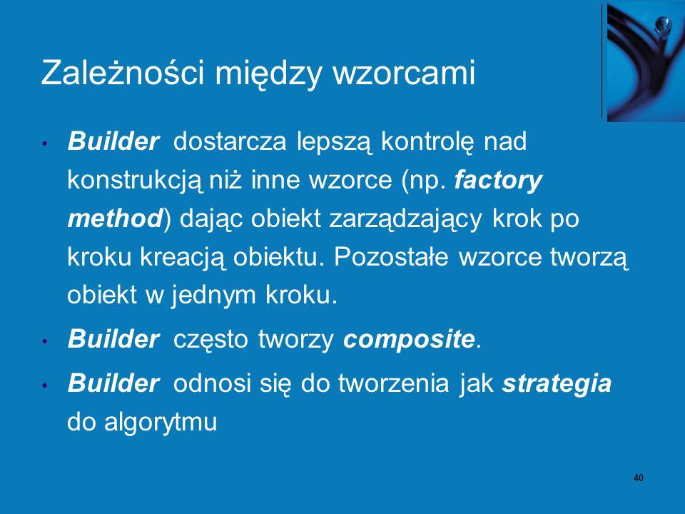 40 Zależności między wzorcami Builder dostarcza lepszą kontrolę nad konstrukcją niż inne wzorce (np. factory method) dając obiekt zarządzający krok po