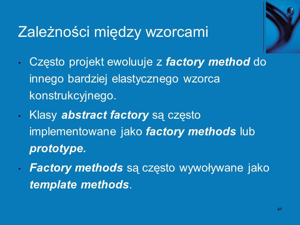 41 Zależności między wzorcami Często projekt ewoluuje z factory method do innego bardziej elastycznego wzorca konstrukcyjnego. Klasy abstract factory