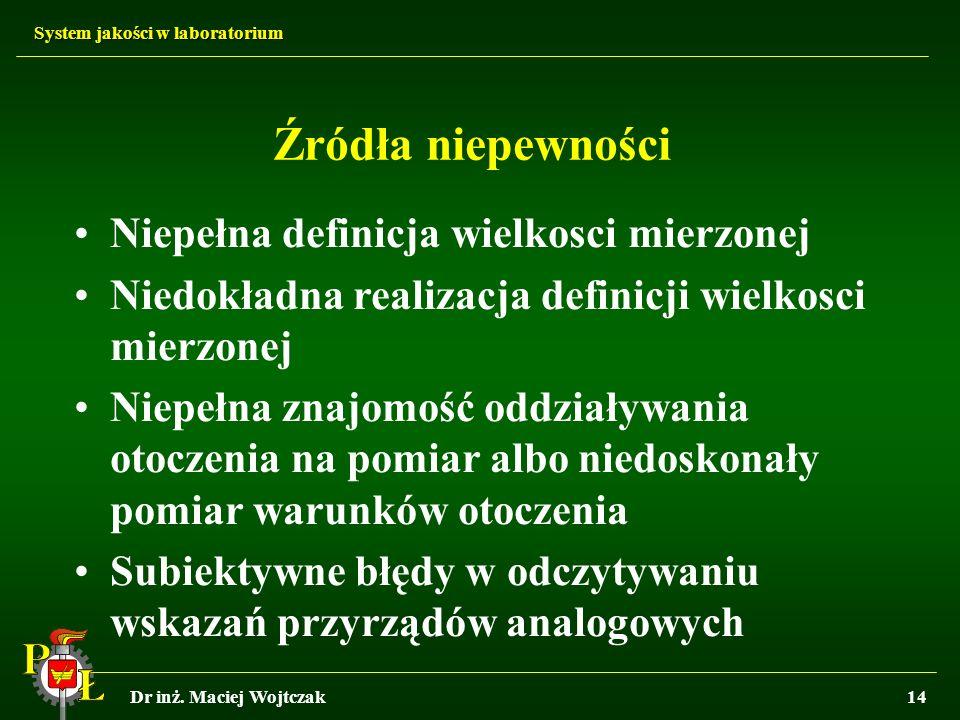 System jakości w laboratorium Dr inż. Maciej Wojtczak14 Źródła niepewności Niepełna definicja wielkosci mierzonej Niedokładna realizacja definicji wie