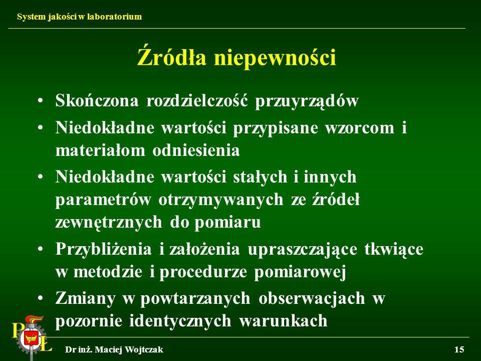 System jakości w laboratorium Dr inż. Maciej Wojtczak15 Źródła niepewności Skończona rozdzielczość przuyrządów Niedokładne wartości przypisane wzorcom