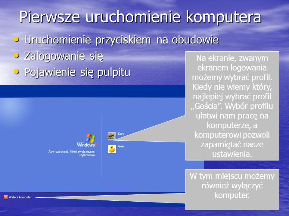 Pierwsze uruchomienie komputera Uruchomienie przyciskiem na obudowie Uruchomienie przyciskiem na obudowie Zalogowanie się Zalogowanie się Pojawienie s