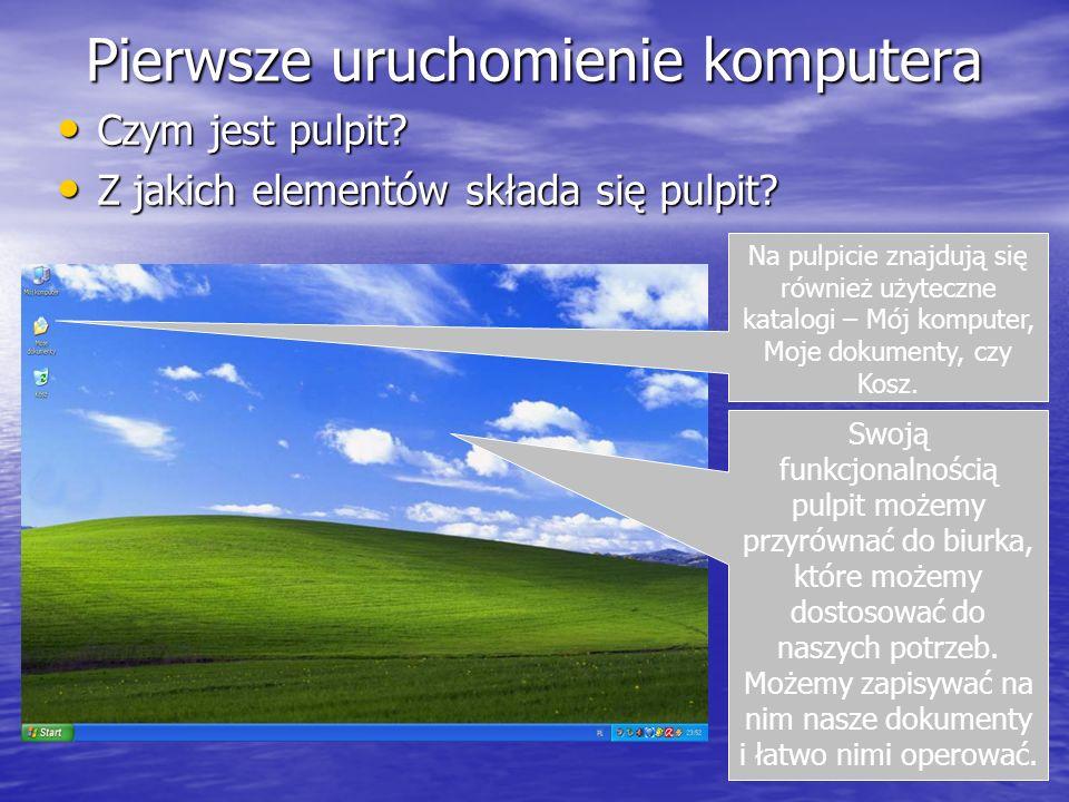 Pierwsze uruchomienie komputera Czym jest pulpit? Czym jest pulpit? Z jakich elementów składa się pulpit? Z jakich elementów składa się pulpit? Swoją