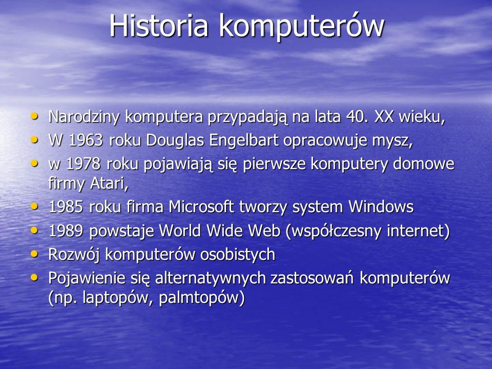 Budowa komputera Cztery elementy niezbędne do sprawnej pracy komputera: Płyta główna – do niej podłączone są wszystkie elementy komputera, np.
