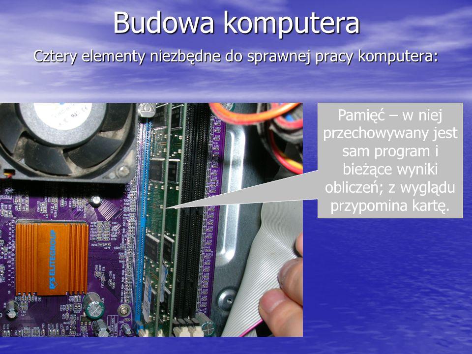 Budowa komputera Cztery elementy niezbędne do sprawnej pracy komputera: Pamięć – w niej przechowywany jest sam program i bieżące wyniki obliczeń; z wy