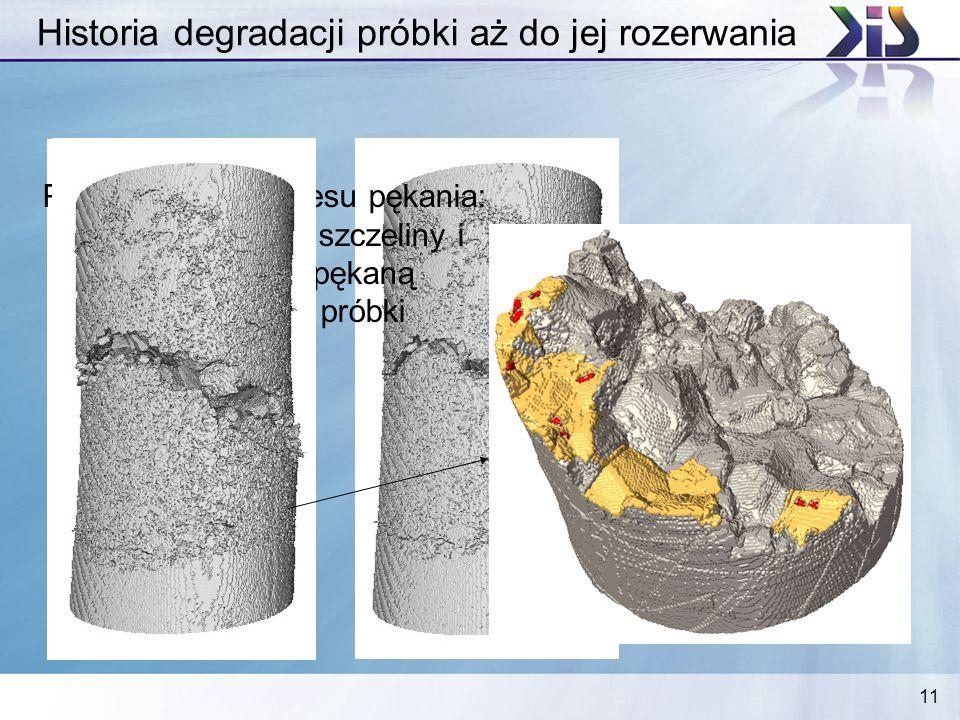 11 Historia degradacji próbki aż do jej rozerwania Pełna historia procesu pękania: nałożenie obrazu szczeliny i mostów na popękaną powierzchnię próbki