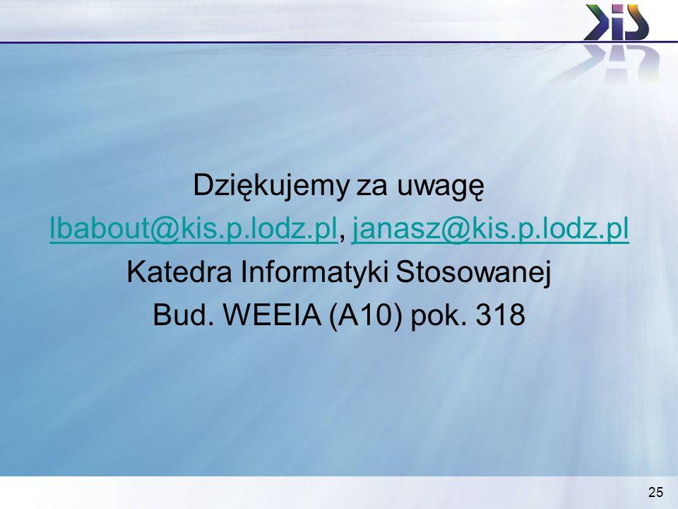25 Dziękujemy za uwagę lbabout@kis.p.lodz.pllbabout@kis.p.lodz.pl, janasz@kis.p.lodz.pljanasz@kis.p.lodz.pl Katedra Informatyki Stosowanej Bud. WEEIA
