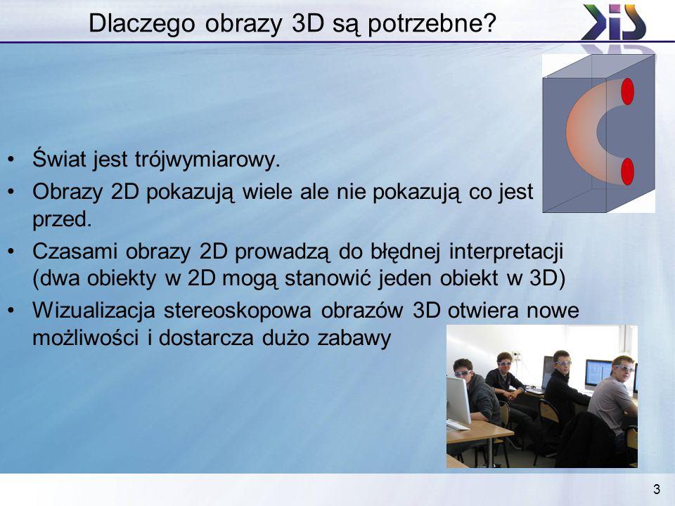 3 Dlaczego obrazy 3D są potrzebne? Świat jest trójwymiarowy. Obrazy 2D pokazują wiele ale nie pokazują co jest przed. Czasami obrazy 2D prowadzą do bł