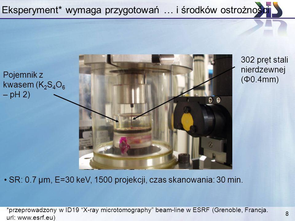 8 Eksperyment* wymaga przygotowań … i środków ostrożności *przeprowadzony w ID19 X-ray microtomography beam-line w ESRF (Grenoble, Francja. url: www.e