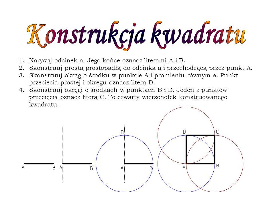 1.Narysuj odcinek a. Jego końce oznacz literami A i B. 2.Skonstruuj prostą prostopadłą do odcinka a i przechodzącą przez punkt A. 3.Skonstruuj okrąg o