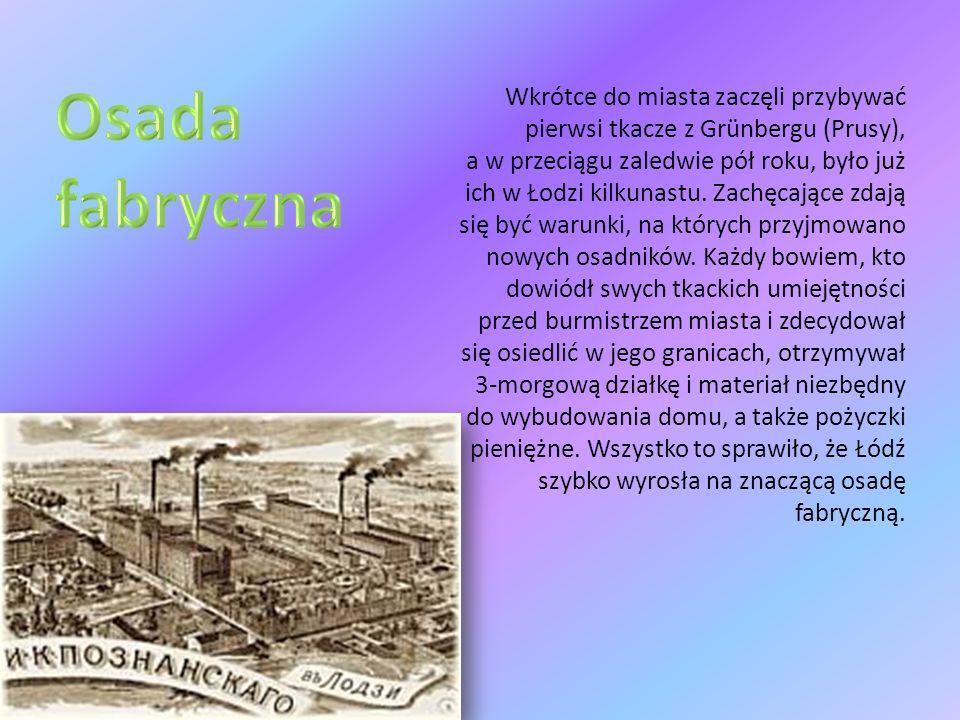 Rozwój przestrzenny Łodzi polegał na powstawaniu osad, nowych dzielnic itp.