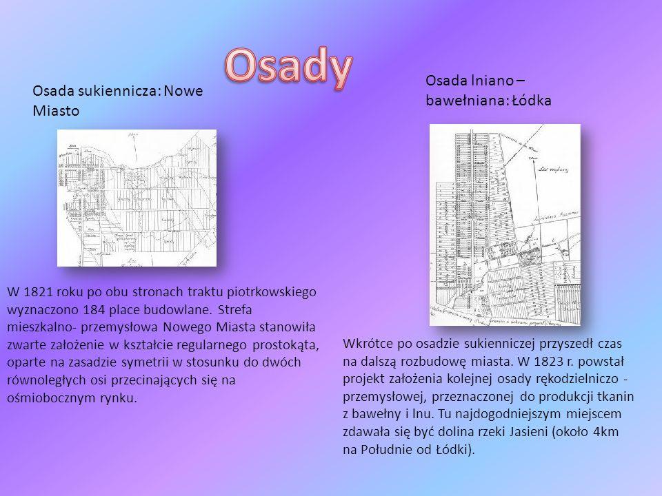 Osada sukiennicza: Nowe Miasto Osada lniano – bawełniana: Łódka W 1821 roku po obu stronach traktu piotrkowskiego wyznaczono 184 place budowlane. Stre