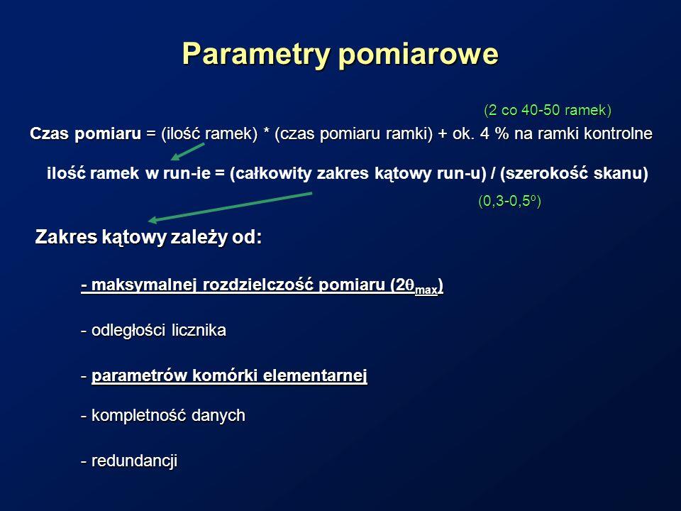 Parametry pomiarowe Czas pomiaru = (ilość ramek) * (czas pomiaru ramki) + ok. 4 % na ramki kontrolne Zakres kątowy zależy od: ilość ramek w run-ie = (