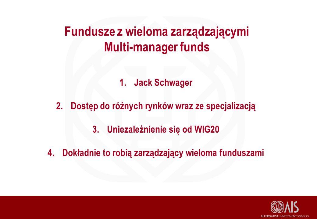 Fundusze z wieloma zarządzającymi Multi-manager funds 1.Jack Schwager 2.Dostęp do różnych rynków wraz ze specjalizacją 3.Uniezależnienie się od WIG20 4.Dokładnie to robią zarządzający wieloma funduszami