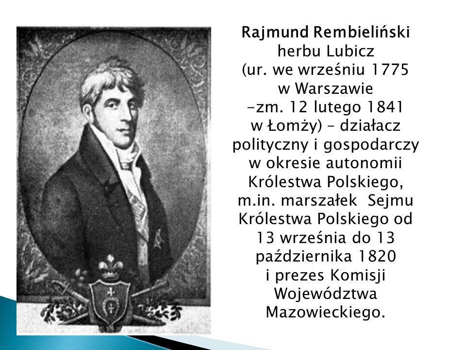Marszałek Sejmu Królestwa Polskiego od 13 września do 13 października 1820 Prezes Komisji Województwa Mazowieckiego.