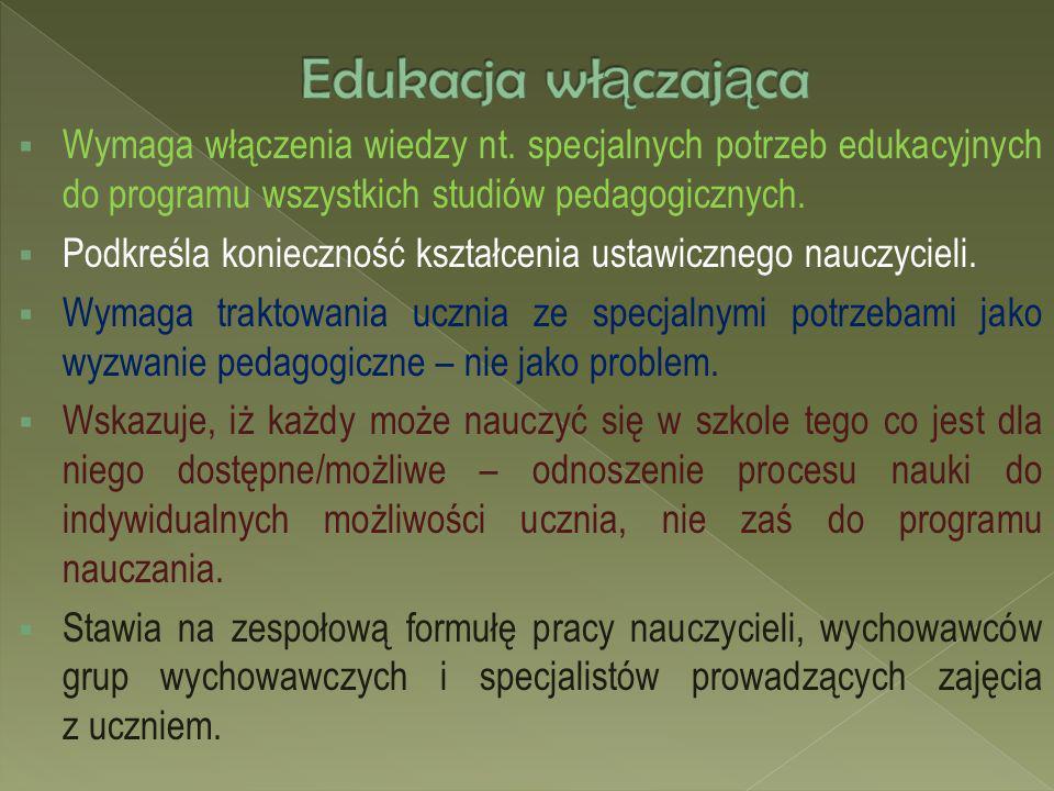 Wymaga włączenia wiedzy nt. specjalnych potrzeb edukacyjnych do programu wszystkich studiów pedagogicznych. Podkreśla konieczność kształcenia ustawicz
