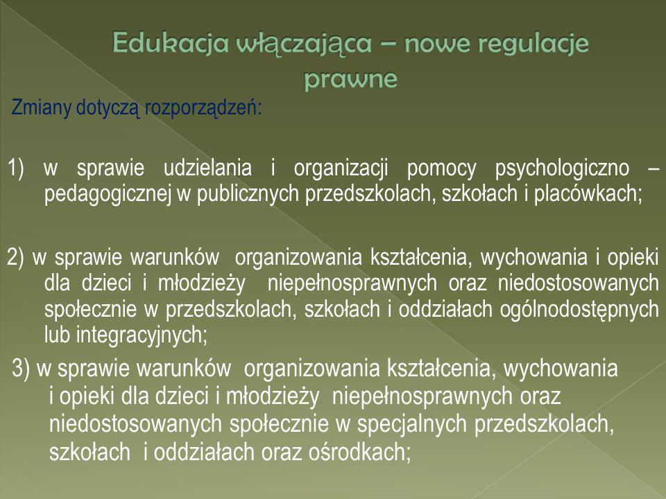 Zmiany dotyczą rozporządzeń: 1) w sprawie udzielania i organizacji pomocy psychologiczno – pedagogicznej w publicznych przedszkolach, szkołach i placó