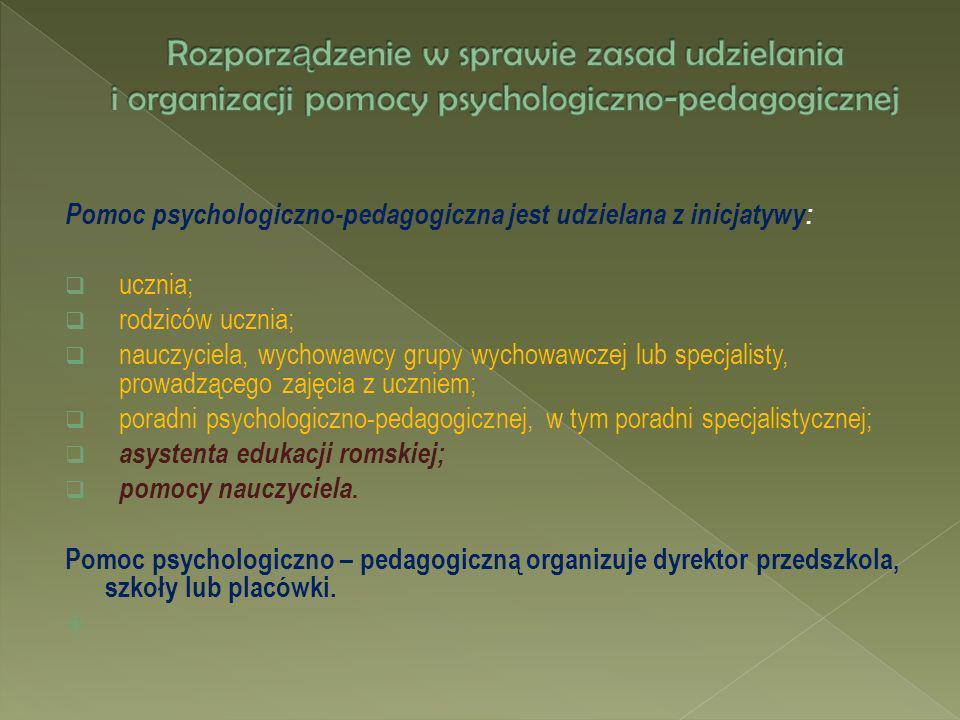 Pomoc psychologiczno-pedagogiczna jest udzielana z inicjatywy: ucznia; rodziców ucznia; nauczyciela, wychowawcy grupy wychowawczej lub specjalisty, pr