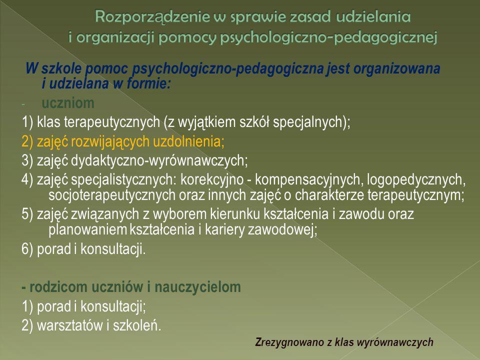 W szkole pomoc psychologiczno-pedagogiczna jest organizowana i udzielana w formie: - uczniom 1) klas terapeutycznych (z wyjątkiem szkół specjalnych);