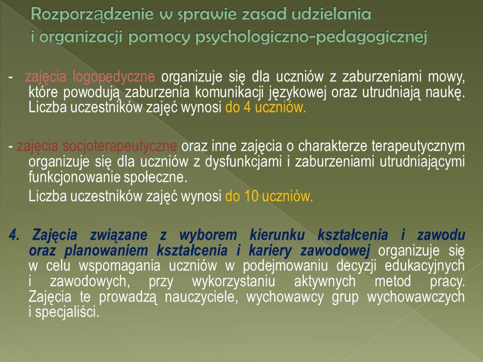 - zajęcia logopedyczne organizuje się dla uczniów z zaburzeniami mowy, które powodują zaburzenia komunikacji językowej oraz utrudniają naukę. Liczba u
