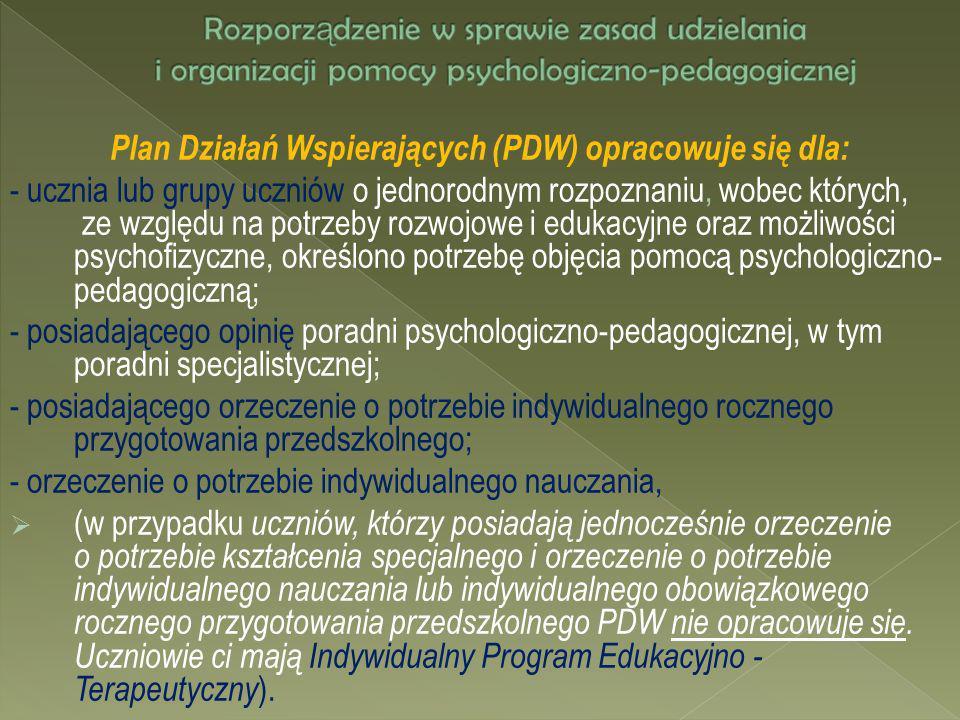 Plan Działań Wspierających (PDW) opracowuje się dla: - ucznia lub grupy uczniów o jednorodnym rozpoznaniu, wobec których, ze względu na potrzeby rozwo