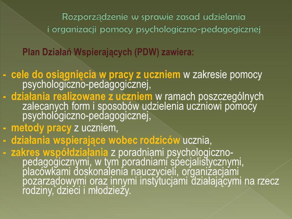Plan Działań Wspierających (PDW) zawiera: - cele do osiągnięcia w pracy z uczniem w zakresie pomocy psychologiczno-pedagogicznej, - działania realizow