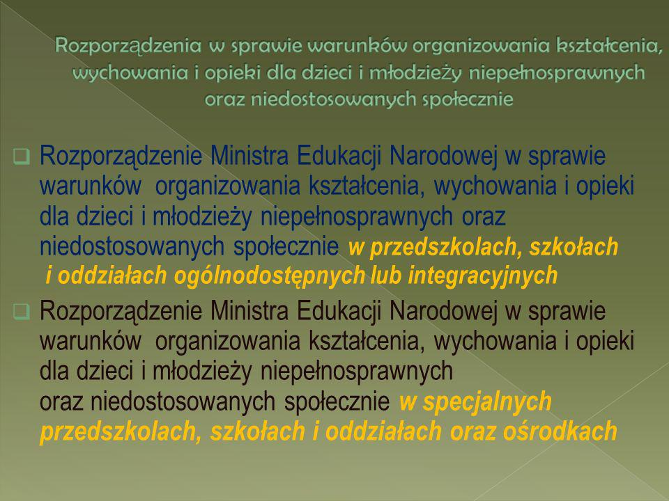 Rozporządzenie Ministra Edukacji Narodowej w sprawie warunków organizowania kształcenia, wychowania i opieki dla dzieci i młodzieży niepełnosprawnych
