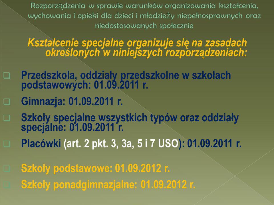 Kształcenie specjalne organizuje się na zasadach określonych w niniejszych rozporządzeniach: Przedszkola, oddziały przedszkolne w szkołach podstawowyc