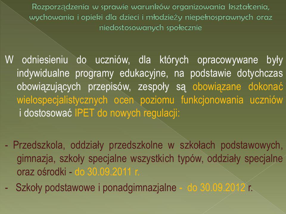 W odniesieniu do uczniów, dla których opracowywane były indywidualne programy edukacyjne, na podstawie dotychczas obowiązujących przepisów, zespoły są