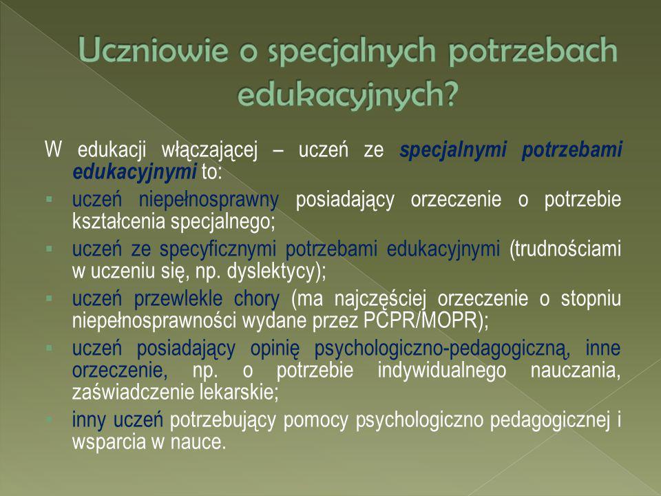 W edukacji włączającej – uczeń ze specjalnymi potrzebami edukacyjnymi to: uczeń niepełnosprawny posiadający orzeczenie o potrzebie kształcenia specjal