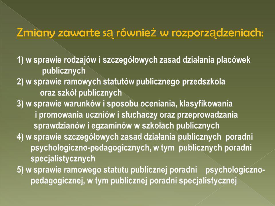 Zmiany zawarte s ą równie ż w rozporz ą dzeniach: 1) w sprawie rodzajów i szczegółowych zasad działania placówek publicznych 2) w sprawie ramowych sta