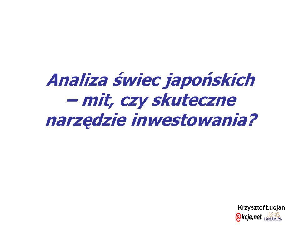 Krzysztof Łucjan Wyprzedzanie- skuteczność Brak powodów do wyprzedzania rynku Gra zgodna z trendem Możliwość powiększenia pozycji, ze stopem czarnej świecy