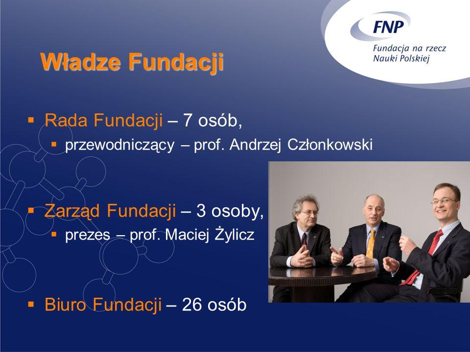 Władze Fundacji Rada Fundacji – 7 osób, przewodniczący – prof. Andrzej Członkowski Zarząd Fundacji – 3 osoby, prezes – prof. Maciej Żylicz Biuro Funda