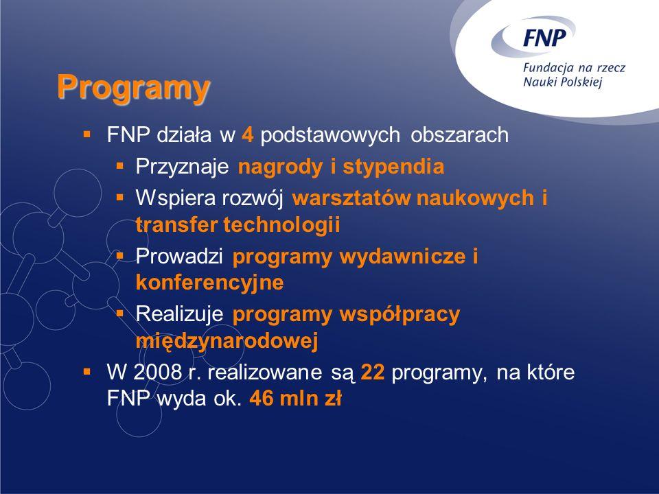 Programy FNP działa w 4 podstawowych obszarach Przyznaje nagrody i stypendia Wspiera rozwój warsztatów naukowych i transfer technologii Prowadzi programy wydawnicze i konferencyjne Realizuje programy współpracy międzynarodowej W 2008 r.