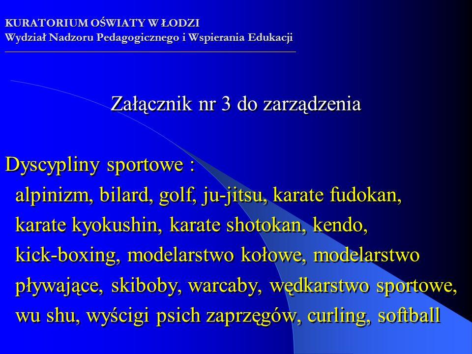 Załącznik nr 3 do zarządzenia Dyscypliny sportowe : alpinizm, bilard, golf, ju-jitsu, karate fudokan, karate kyokushin, karate shotokan, kendo, kick-boxing, modelarstwo kołowe, modelarstwo pływające, skiboby, warcaby, wędkarstwo sportowe, wu shu, wyścigi psich zaprzęgów, curling, softball Załącznik nr 3 do zarządzenia Dyscypliny sportowe : alpinizm, bilard, golf, ju-jitsu, karate fudokan, karate kyokushin, karate shotokan, kendo, kick-boxing, modelarstwo kołowe, modelarstwo pływające, skiboby, warcaby, wędkarstwo sportowe, wu shu, wyścigi psich zaprzęgów, curling, softball KURATORIUM OŚWIATY W ŁODZI Wydział Nadzoru Pedagogicznego i Wspierania Edukacji __________________________________________________________________________