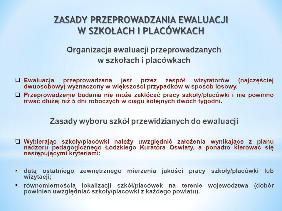 Organizacja ewaluacji przeprowadzanych w szkołach i placówkach Ewaluacja przeprowadzana jest przez zespół wizytatorów (najczęściej dwuosobowy) wyznacz
