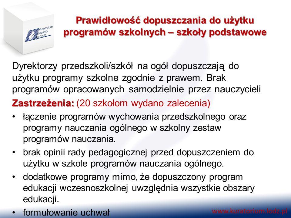 Prawidłowość dopuszczania do użytku programów szkolnych – szkoły podstawowe Dyrektorzy przedszkoli/szkół na ogół dopuszczają do użytku programy szkoln