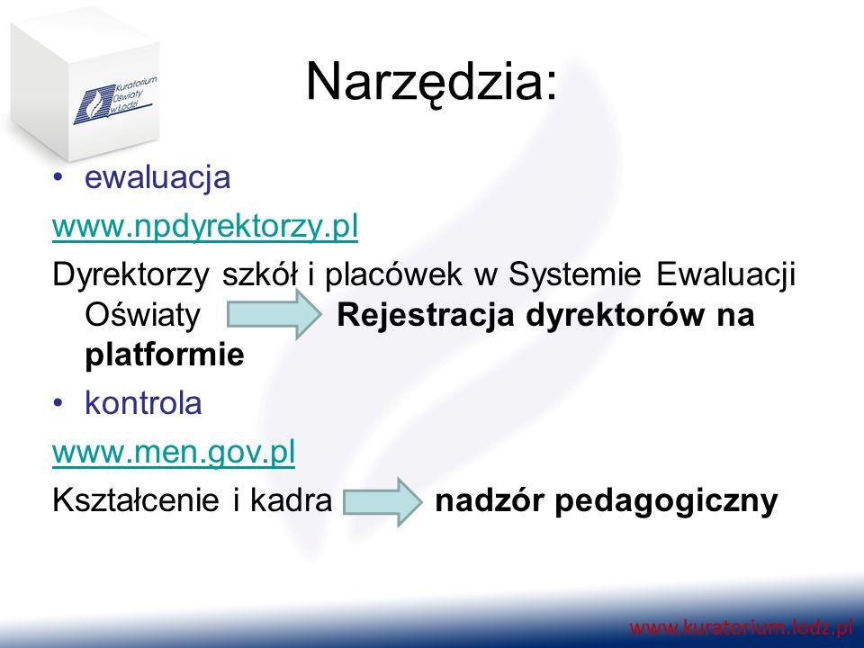 Narzędzia: ewaluacja www.npdyrektorzy.pl Dyrektorzy szkół i placówek w Systemie Ewaluacji Oświaty Rejestracja dyrektorów na platformie kontrola www.me