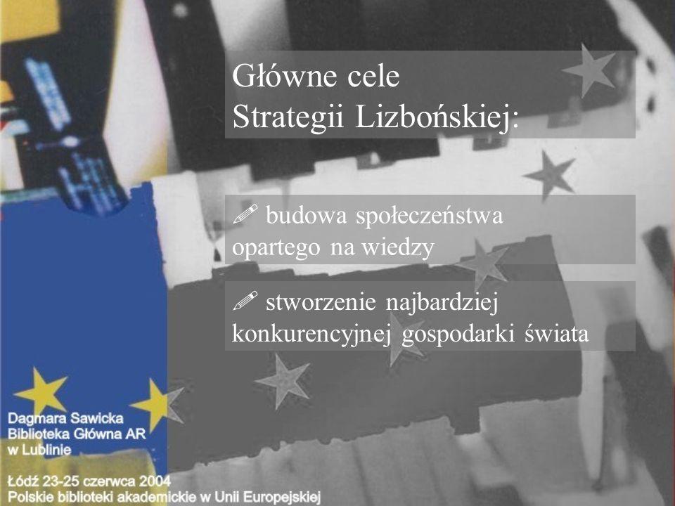 Główne cele Strategii Lizbońskiej: . budowa społeczeństwa opartego na wiedzy .