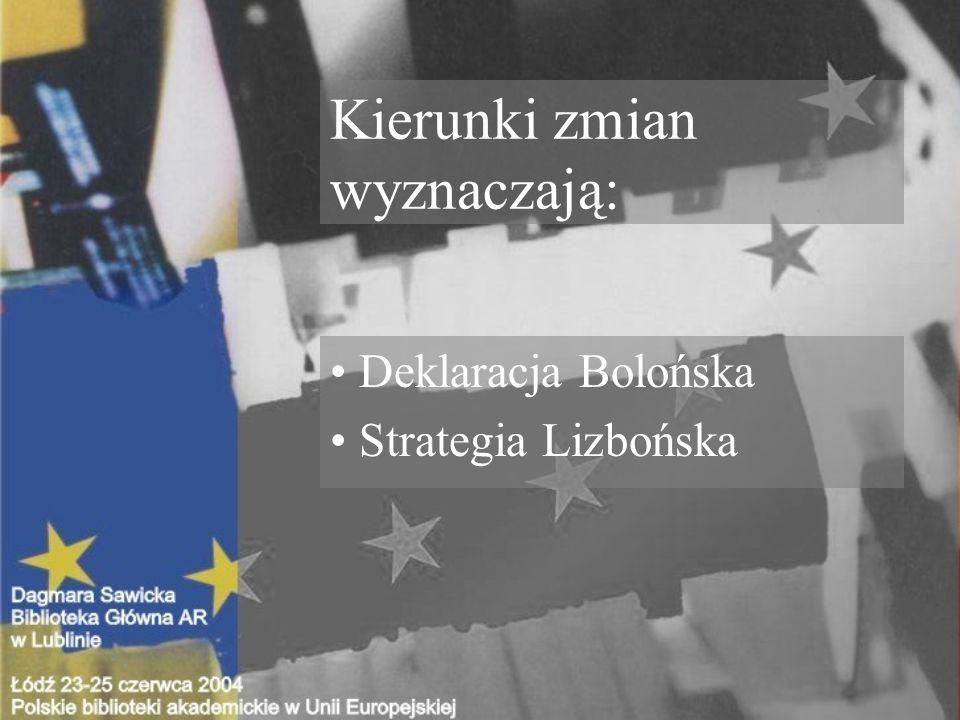 Kierunki zmian wyznaczają: Deklaracja Bolońska Strategia Lizbońska