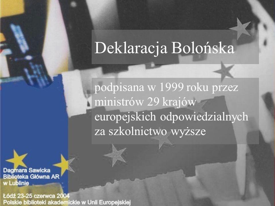 Deklaracja Bolońska podpisana w 1999 roku przez ministrów 29 krajów europejskich odpowiedzialnych za szkolnictwo wyższe