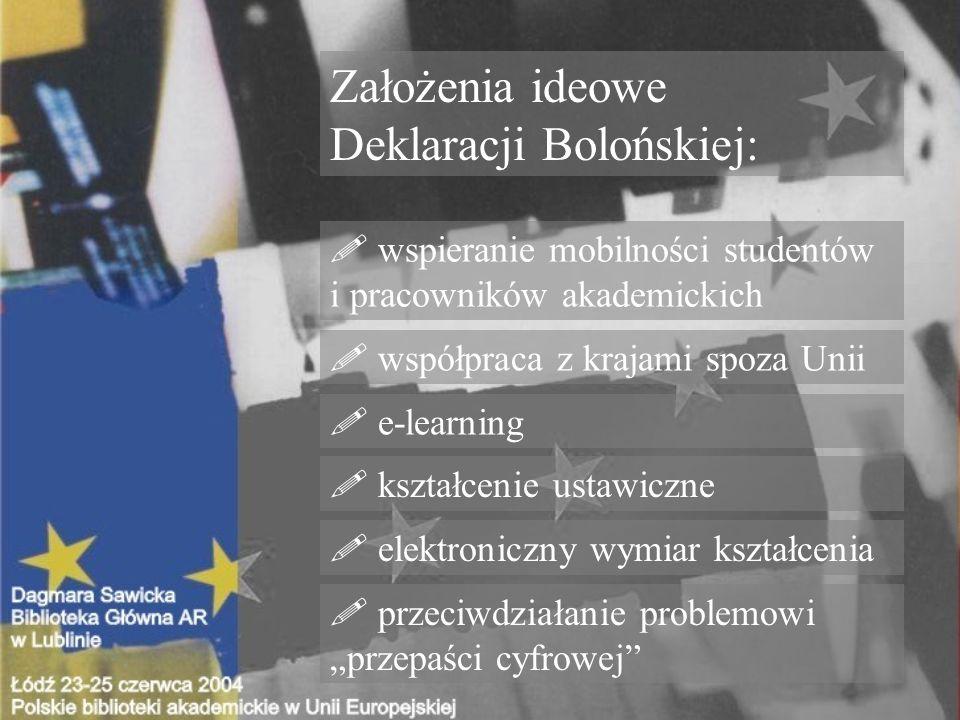 wspieranie mobilności studentów i pracowników akademickich Założenia ideowe Deklaracji Bolońskiej: .