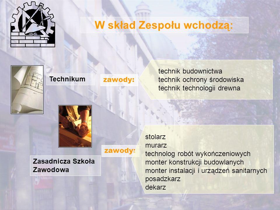 W skład Zespołu wchodzą: Technikum Zasadnicza Szkoła Zawodowa zawody: technik budownictwa technik ochrony środowiska technik technologii drewna zawody