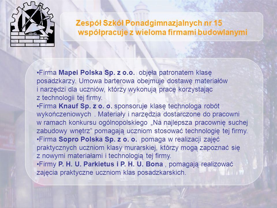 Firma Mapei Polska Sp. z o.o. objęła patronatem klasę posadzkarzy. Umowa barterowa obejmuje dostawę materiałów i narzędzi dla uczniów, którzy wykonują