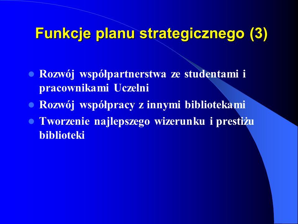 Funkcje planu strategicznego (2) Stworzenie z Biblioteki elastycznej organizacji Organizowanie własnej działalności dydaktycznej Kształcenie studentów i pracowników Uczelni