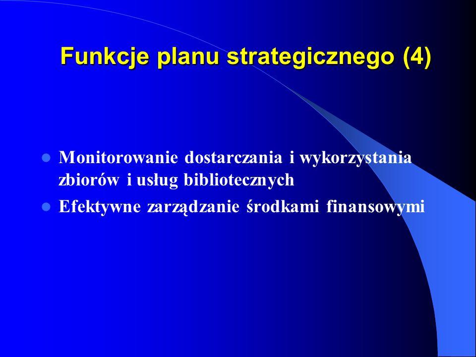 Funkcje planu strategicznego (3) Rozwój współpartnerstwa ze studentami i pracownikami Uczelni Rozwój współpracy z innymi bibliotekami Tworzenie najlepszego wizerunku i prestiżu biblioteki
