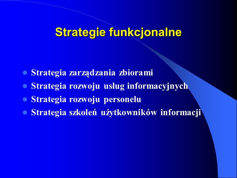 Strategie funkcjonalne Strategia zarządzania zbiorami Strategia rozwoju usług informacyjnych Strategia rozwoju personelu Strategia szkoleń użytkowników informacji