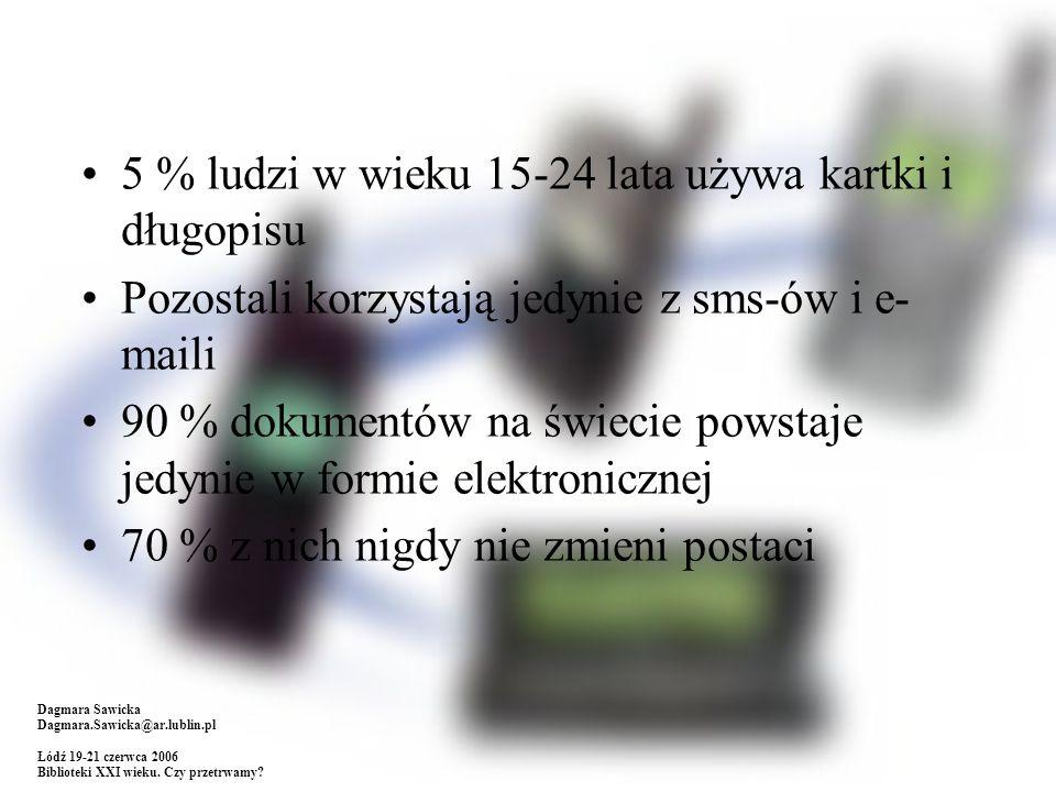 5 % ludzi w wieku 15-24 lata używa kartki i długopisu Pozostali korzystają jedynie z sms-ów i e- maili 90 % dokumentów na świecie powstaje jedynie w formie elektronicznej 70 % z nich nigdy nie zmieni postaci Dagmara Sawicka Dagmara.Sawicka@ar.lublin.pl Łódź 19-21 czerwca 2006 Biblioteki XXI wieku.